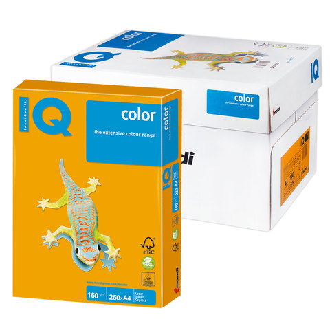 Бумага IQ color А4, 160 г/м, 250 л., умеренно-интенсив (тренд) cтарое золото AG10 ш/к 06985  Код: 110828
