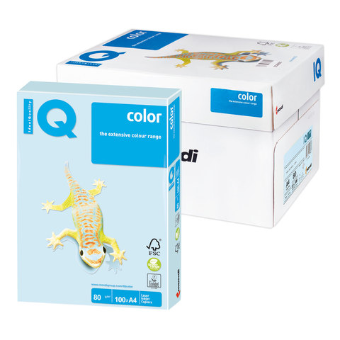 Бумага IQ color А4, 80 г/м, 100 л., пастель светло-голубая BL29 ш/к 07791  Код: 110836