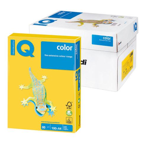 Бумага IQ color А4, 80 г/м, 100 л., интенсив, ярко-желтая, IG50, ш/к 14874  Код: 110838