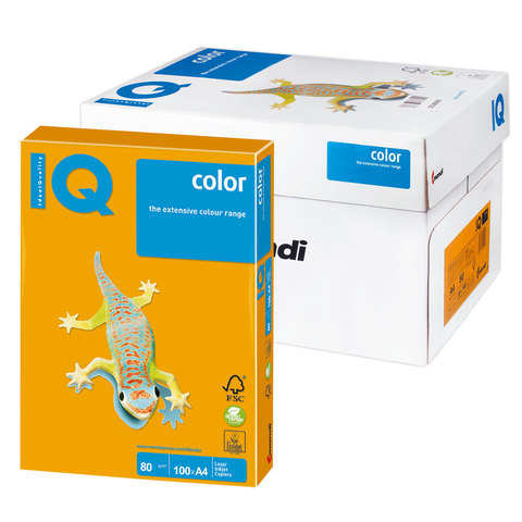 Бумага IQ color А4, 80 г/м, 100 л., умеренно-интенсив (тренд) cтарое золото AG10 ш/к 11606  Код: 110844