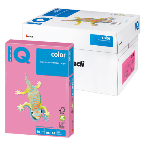 Бумага IQ color А4, 80 г/м, 100 л., неон, розовая, NEOPI, ш/к 11033  Код: 110850