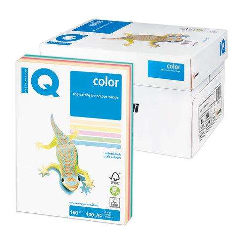 Бумага IQ color А4, 160 г/м, 100 л. (5цв.x20л.), цветная пастель RB01 ш/к 18377  Код: 110851