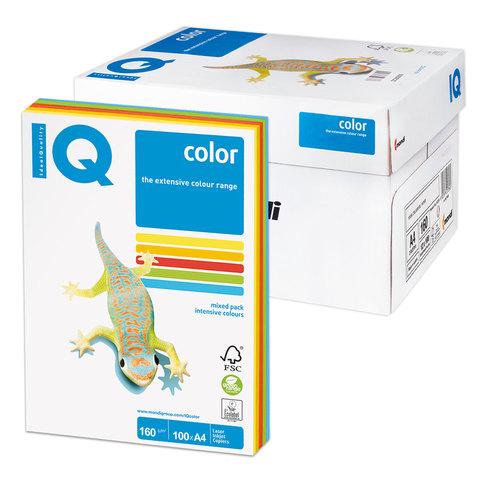 Бумага IQ color А4, 160 г/м, 100 л. (5цв.x20л.), цветная интенсив RB02 ш/к 18384  Код: 110852