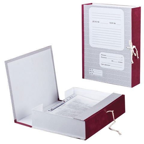 Короб архивный 7 см, 2 х/б завязки, до 600л.  Код: 121011