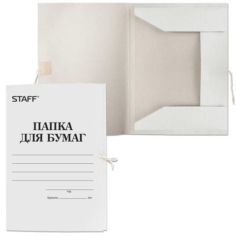 Папка для бумаг с завязками картонная STAFF, гарантированная плотность 310 г/м2, до 200л, 121120  Код: 121120