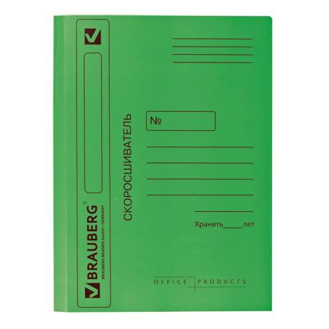 Скоросшиватель картонный мелованный BRAUBERG, гарантированная плотность 360 г/м2, ЗЕЛЕНЫЙ, до 200л.  Код: 121519