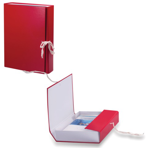 Короб архивный, бумвинил,  3,5 см, 2 х/б завязки, цвет ассорти, до 300л.  Код: 122037