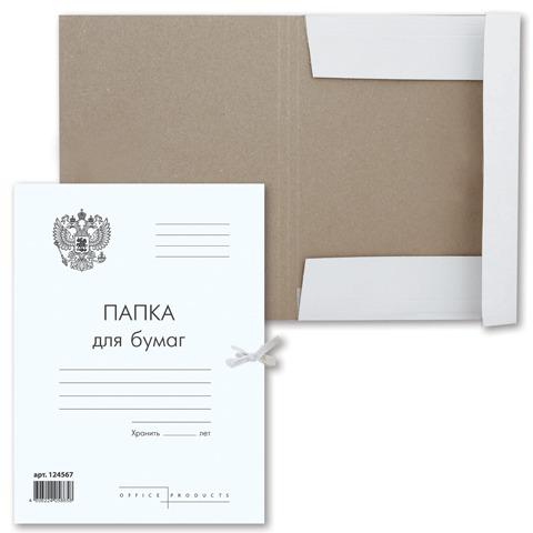 Папка для бумаг с завязками картонная BRAUBERG, гарантированная плотность 300 г/м2, до 200л, 124567  Код: 124567