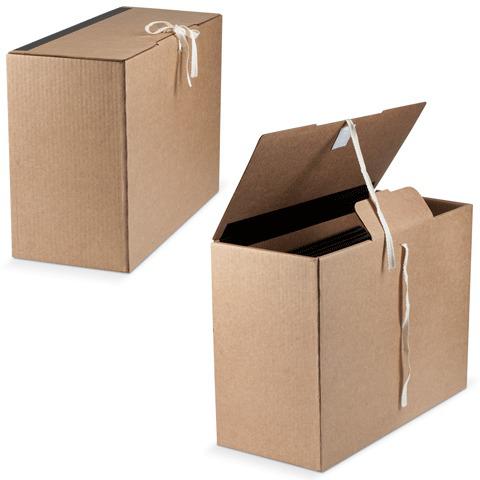 Короб архивный (в38*ш17*г28,см), вертикальный, на завязках, гофрокартон, бурый, до 1600л., ш/к 70554  Код: 126520