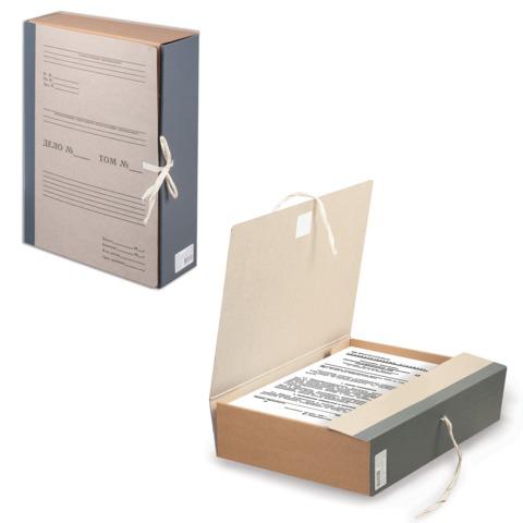 Короб архивный STAFF,  8 см, переплетный картон, корешок - бумвинил, 2 х/б завязки, до 700л, 126902  Код: 126902