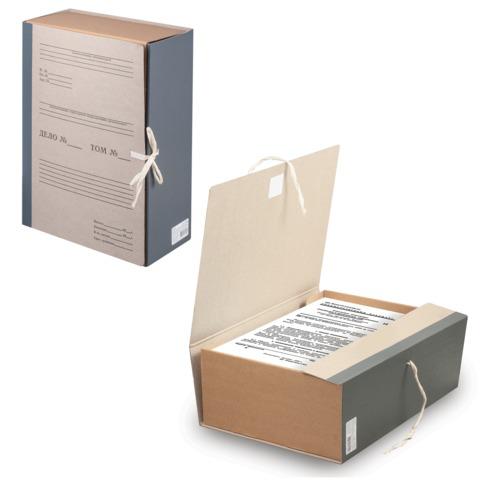 Короб архивный STAFF, 12 см, переплетный картон, корешок - бумвинил, 2 х/б завязки, до 1000л, 126903  Код: 126903