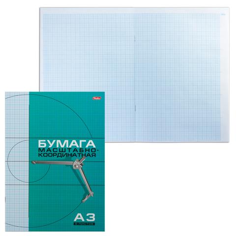 Бумага масштабно-координатная HATBER, А3, 295*420мм, голубая, на скобе 8л., 8Бм3_02285(N002711)  Код: 127118