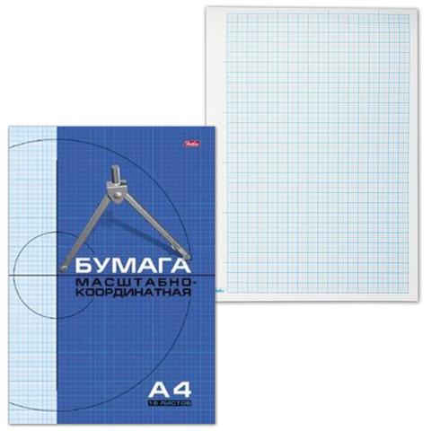 Бумага масштабно-координатная HATBER, А4, 210*295мм, голубая, на скобе, 16л., 16Бм4_02284(N002704)  Код: 127119