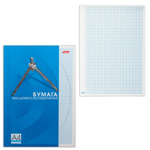 Бумага масштабно-координатная HATBER, А4, 210*295мм, голубая, склейка 25л., 25Бм4Bк_09325(N088890)  Код: 127120