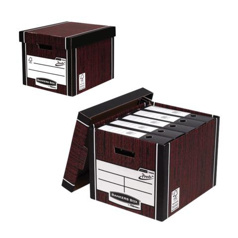 Короб архивный FELLOWES (BANKERS BOX) Woodgrain 32,5x28,5x38,5см,с крышкой,гофрокартон,коричневый,FS00610  Код: 127530
