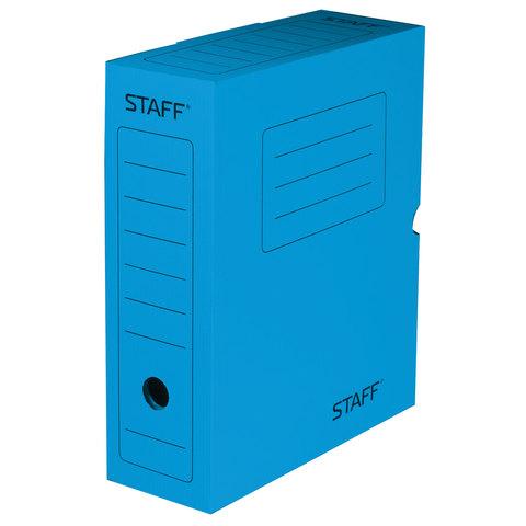 Короб архивный с клапаном, микрогофрокартон, 100 мм, до 900 листов, СИНИЙ, STAFF, 128864  Код: 128864