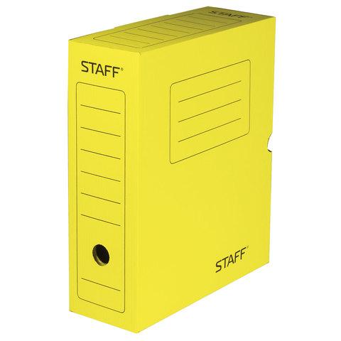 Короб архивный с клапаном, микрогофрокартон, 100 мм, до 900 листов, ЖЕЛТЫЙ, STAFF, 128865  Код: 128865