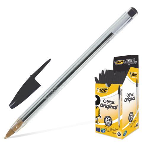 Ручка шариковая BIC Cristal, корпус прозрачный, узел 1мм, линия 0,32мм, черная, 847897  Код: 140054
