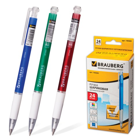 Ручка шариковая автомат. BRAUBERG (Брауберг) Sprinter, корпус ассорти, узел 0,7мм, линия 0,35мм, синяя, 140583  Код: 140583