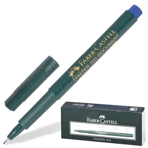 Ручка капиллярная FABER-CASTELL Finepen 1511, корпус зеленый, толщина письма 0,4мм, синяя, FC151151  Код: 140994