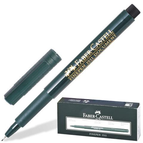 Ручка капиллярная FABER-CASTELL Finepen 1511, корпус зеленый, толщина письма 0,4мм, черная, FC151199  Код: 140995