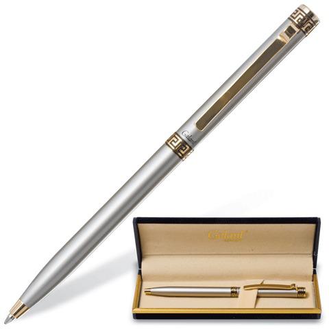 Ручка подарочная шариковая Galant (Галант) Brigitte, корпус серебристый, золотистые детали, 0,7мм, синяя, 141009  Код: 141009
