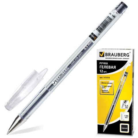 Ручка гелевая BRAUBERG (Брауберг) Jet, корпус прозрачный, узел 0,5мм, линия 0,35мм, черная, 141018  Код: 141018