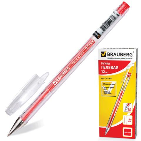 Ручка гелевая BRAUBERG (Брауберг) Jet, корпус прозрачный, узел 0,5мм, линия 0,35мм, красная, 141020  Код: 141020