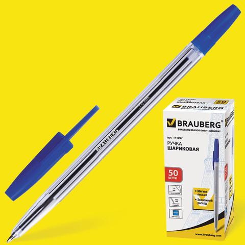 Ручка шариковая BRAUBERG (Брауберг) Line, корпус прозрачный, узел 1мм, линия письма 0,5мм, синяя, 141097  Код: 141097