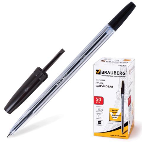 Ручка шариковая BRAUBERG (Брауберг) Line, корпус прозрачный, узел 1мм, линия письма 0,5мм, черная, 141098  Код: 141098