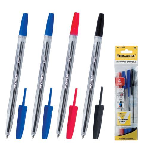 Ручки шариковые BRAUBERG, НАБОР 4шт, Line, узел 1мм, линия 0,5мм, (2 синие, черная, красная), 141100  Код: 141100