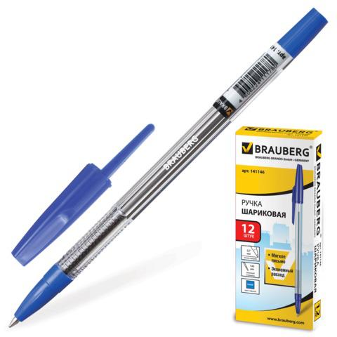 Ручка шариковая BRAUBERG (Брауберг) Note, корпус прозрачный, узел 0,7мм, линия 0,35мм, синяя, 141146  Код: 141146