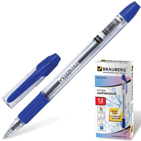 Ручка шариковая BRAUBERG (Брауберг) Samurai, корпус прозрачный, 0,7мм, линия 0,35мм, резин.упор, синяя, 141149  Код: 141149