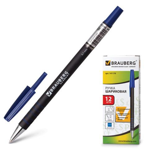 Ручка шариковая BRAUBERG (Брауберг) Capital, корпус soft-touch черный, 0,7мм, линия 0,35мм, синяя, 141170  Код: 141170
