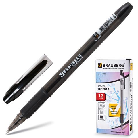 Ручка гелевая BRAUBERG (Брауберг) Samurai, корпус тонированный, 0,5мм, линия 0,35мм, резин.упор, черная, 141178  Код: 141178