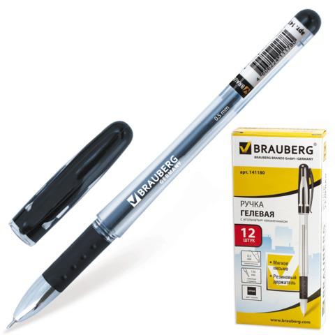 Ручка гелевая с грипом BRAUBERG (Брауберг) Geller, игольчатый узел 0,5мм, линия письма 0,35мм, черная, 141180  Код: 141180