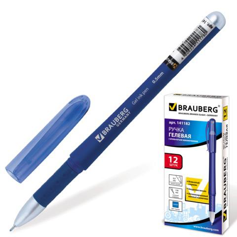 Ручка гелевая BRAUBERG (Брауберг) Impulse, игольчатый узел 0,5мм, линия 0,35мм, резиновый упор, синяя, 141182  Код: 141182
