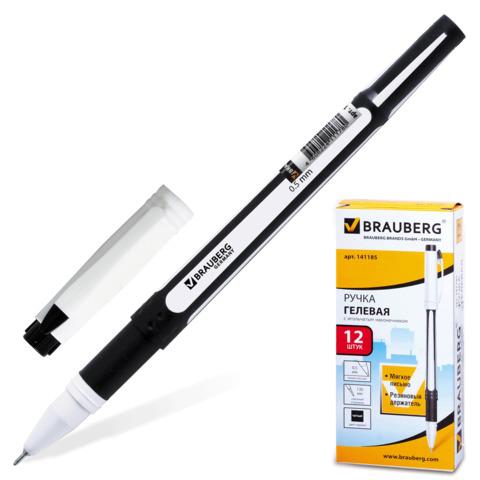 Ручка гелевая BRAUBERG (Брауберг) Contact, корпус черный, игольчатый узел 0,5мм, линия 0,35мм, черная, 141185  Код: 141185