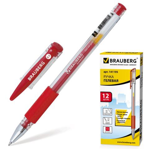 Ручка гелевая BRAUBERG (Брауберг) Number One, узел 0,5мм, линия 0,35мм, резиновый упор, красная, 141195  Код: 141195
