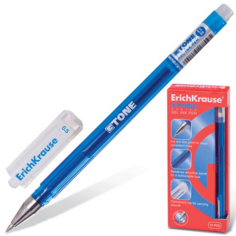 Ручка гелевая ERICH KRAUSE G-Tone, корпус тонированный синий, 0,5мм, линия 0,4мм, синяя, 17809  Код: 141222