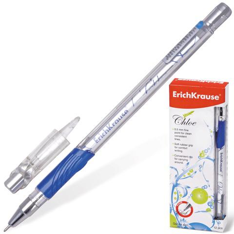 Ручка гелевая ERICH KRAUSE Chloe, корпус прозрачн., фольг.стержень, 0,5мм, линия 0,4мм, синяя, 38974  Код: 141228
