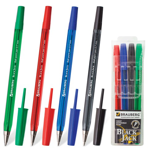 Ручки шариковые BRAUBERG, НАБОР 4шт, Black Jack, 0,7мм, линия 0,35мм, (син,черн,красн,зелен), 141290  Код: 141290