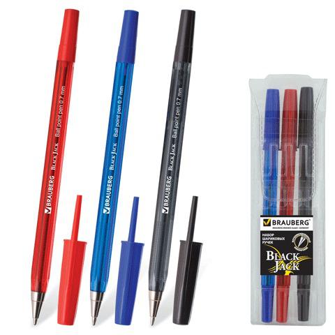 Ручки шариковые BRAUBERG, НАБОР 3шт, Black Jack, узел 0,7мм, линия 0,35мм, (син,черн,красн), 141295  Код: 141295