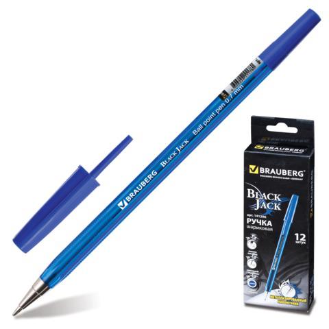 Ручка шариковая BRAUBERG (Брауберг) Black Jack, корпус тонированный синий, 0,7мм, линия 0,35мм, синяя, 141296  Код: 141296