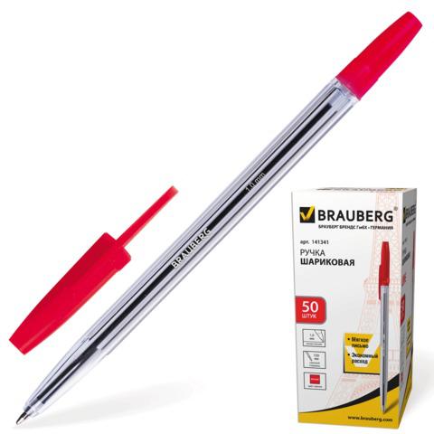 Ручка шариковая BRAUBERG (Брауберг) Line, корпус прозрачный, узел 1мм, линия письма 0,5мм, красная, 141341  Код: 141341
