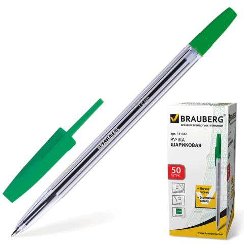 Ручка шариковая BRAUBERG (Брауберг) Line, корпус прозрачный, узел 1мм, линия письма 0,5мм, зеленая, 141342  Код: 141342