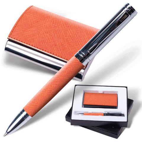 """Набор Galant (Галант) """"Prestige Collection"""": ручка, визитница, оранжевый """"фактурная кожа"""", подар.кор., 141375  Код: 141375"""