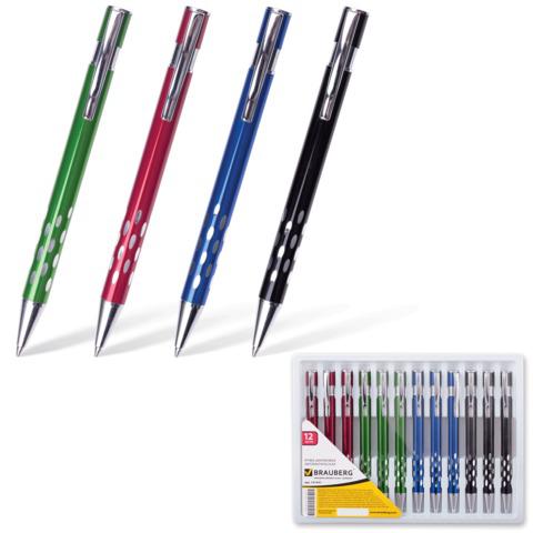 Ручка бизнес-класса шариковая BRAUBERG (Брауберг) State, корпус ассорти, серебристые детали, 1мм, синяя, 141431  Код: 141431