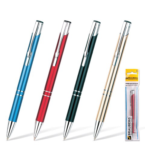 Ручка бизнес-класса шариковая BRAUBERG (Брауберг) Win, корпус ассорти, серебристые детали, 1мм, синяя, 141434  Код: 141434
