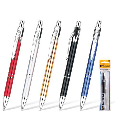 Ручка бизнес-класса шариковая BRAUBERG (Брауберг) Dragon, корпус ассорти, серебристые детали, 1мм, синяя, 141438  Код: 141438